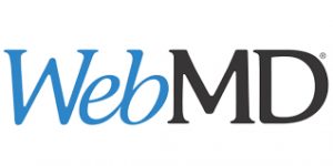 LOGO FOR WEBMD. WHITE BACKGROUND WITH BLUE AND BLACK LETTERS