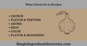 Grey and Tan background with drawing of onion. Text: What onions do in recipes; crunch, flavor & texture, aroma, heat, color, flavor & seasoning; Single Ingredient Groceries
