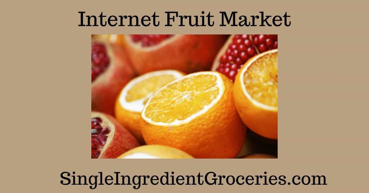 """TAN BACKGROUND WITH IMAGE OF SLICED ORANGES AND POMEGRANATES, with text """"Internet Fruit Market"""" for Single Ingredient Groceries."""