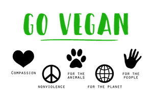 """WHITE BACKGROUND WITH GREEN WORDS """"GO VEGAN"""" AND LOGOS SHOWING VEGAL ETHICS AND VALUES"""