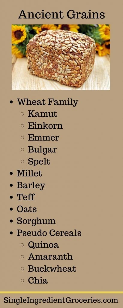 """INFOGRAPHIC TITLED """"ANIENT GRAINS"""" WITH IMAGE OF MULTIGRAIN LOAF OF BREAD AND BULLETED LIST OF INFORMATION ABOUT ANCIENT GRAINS, FOR SINGLE INGREDIENT GROCERIES"""