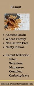 "INFOGRAPHIC TITLED ""KAMUT"" WITH IMAGE OF KAMUT WHOLE GRAIN AND LIST OF INFORMATION ABOUT KAMUT"